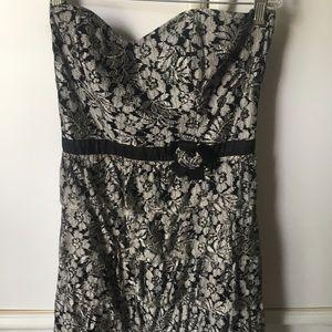 American Rag Grey Floral Strapless Dress